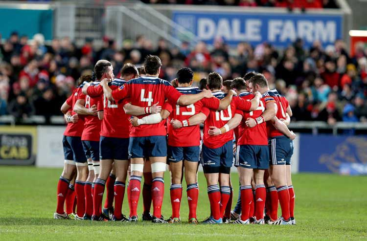 RaboDirect PRO12, Ravenhill, Belfast 3/1/2014 Ulster vs Munster  Munster team huddle before the game Mandatory Credit ©INPHO/Dan Sheridan
