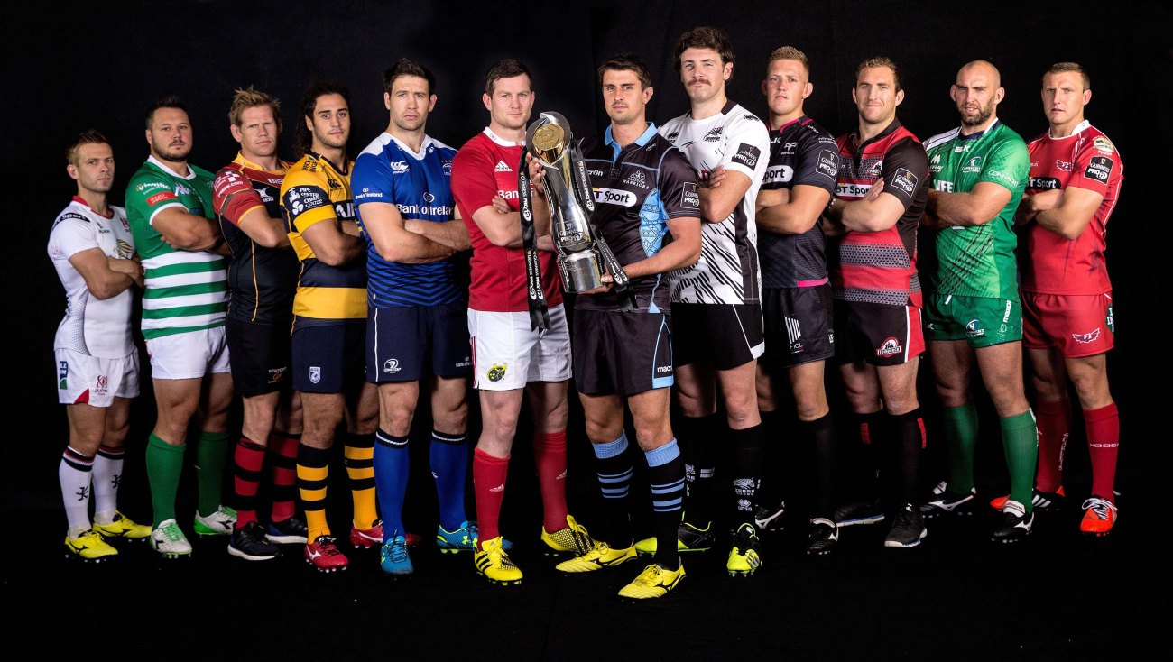 REPRO FREE***PRESS RELEASE NO REPRODUCTION FEE*** Launch of the 2015/16 Guinness PRO12 Season, Diageo HQ, Park Royal, London 24/8/2015 Pictured today at the launch of the 2015/16 Guinness PRO12 Season (L-R): Ulster's Paul Marshall, Treviso's Alberto Demarchi, Dragons' Rhys Thomas, Cardiff's Josh Navidi, Leinster's Kevin McLaughlin, Munster's Dennis Hurley, Warriors' Peter Murchie, Zebre's George Biagi, Ospreys' Lloyd Ashley, Edinburgh's Mike Coman, Connacht's John Muldoon and Scarlets' Hadleigh Parkes Mandatory Credit ©INPHO/James Crombie