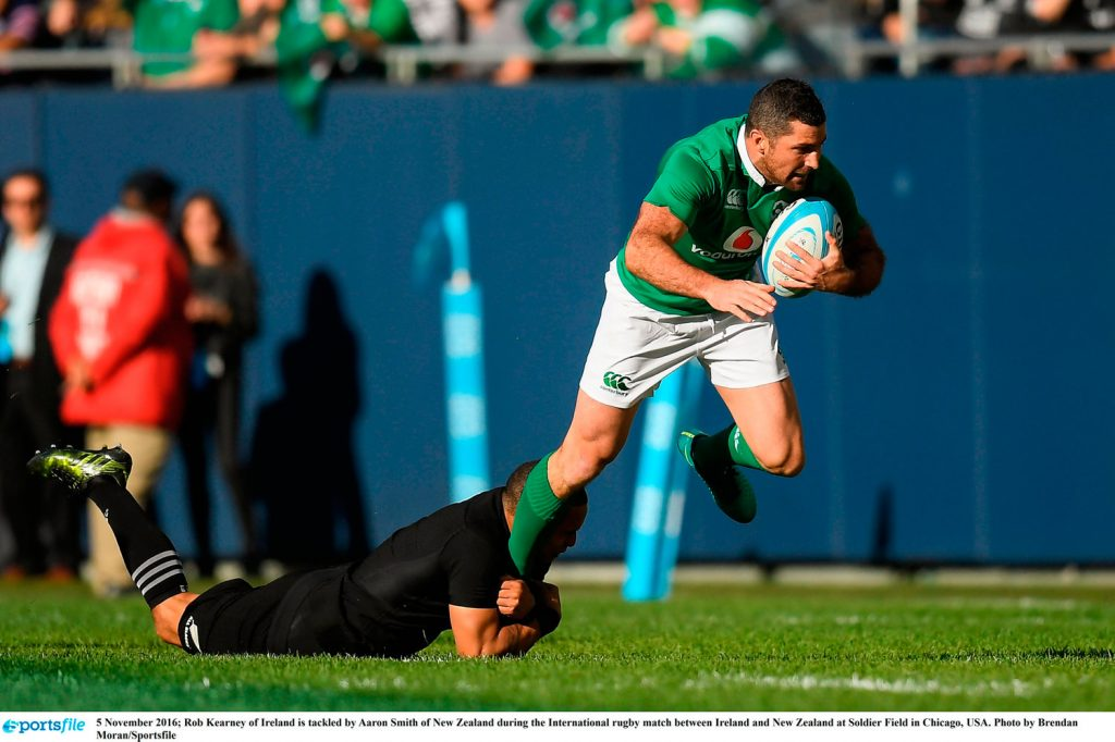 5 November 2016; Rob Kearney of Ireland is tackled by Aaron Smith of New Zealand during the International rugby match between Ireland and New Zealand at Soldier Field in Chicago, USA. Photo by Brendan Moran/Sportsfile