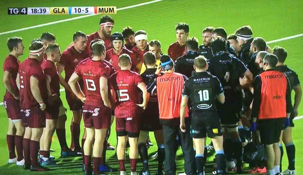 Watch: Nigel Owens Calls In Every Single Munster & Glasgow Player For A Warning