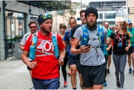 Charity runner Ben Smith set off from Millennium Square in Bristol for the 2nd last of 401 marathons on Tuesday morning date:04.10.2016 photographer:James Beck/freelance