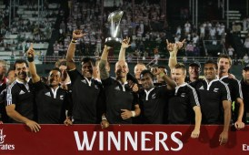 DUBAI, UNITED ARAB EMIRATES - DECEMBER 05: DJ Forbes, the New Zealand captain celebrates with the New Zealand squad after their win over Samoa in the final of the IRB Sevens tournament at the Dubai Sevens Stadium on December 5, 2009 in Dubai, United Arab Emirates. (Photo by David Rogers/Getty Images)