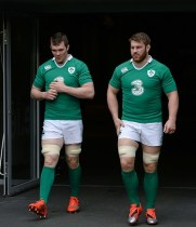 28 February 2015; Ireland's Peter O'Mahony, left, and Sean O'Brien arrive for their captain's run. Aviva Stadium, Lansdowne Road, Dublin. Picture credit: Brendan Moran / SPORTSFILE (Photo by Sportsfile/Corbis via Getty Images)