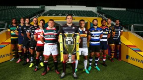LONDON, ENGLAND - AUGUST 25: (L-R) Tom Wood, Captain of Northampton Saints, Gerritt-Jan Van Velze, Captain of Worcester Warriors, Ally Hogg, Captain of Newcastle Falcons, Jack Yeandle, Captain of Exeter Chiefs, Greig Laidlaw, Captain of Gloucester Rugby, Tom Youngs, Captain of Leicester Tigers, Brad Barritt, Captain of Saracens, Danny Care, Captain of Harlequins, Guy Mercer, Captain of Bath, Jack Lam, Captain of Bristol Rugby, Joe Launchbury, Captain of Wasps and Josh Beaumont, Captain of Sale, pose with The Aviva Premiership Trophy during the Aviva Premiership Rugby 2016-2017 Season Launch at Twickenham Stadium on August 25, 2016 in London, England. (Photo by Steve Bardens/Getty Images for Aviva)