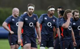 Britain Rugby Union - England Training - Pennyhill Park Hotel, Bagshot, Surrey - 22/11/16 England's George Kruis and Tom Wood during training Action Images via Reuters / Henry Browne Livepic
