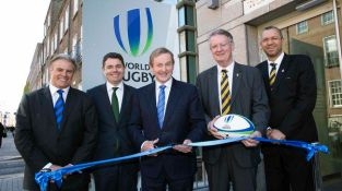 REPRO FREE***PRESS RELEASE NO REPRODUCTION FEE*** Official Opening of World Rugby House, Dublin 13/5/2015 Pictured at today's opening (L-R) Brett Gosper, CEO World Rugby, Minister for Transport, Tourism and Sport, Paschal Donohoe TD, An Taoiseach Enda Kenny TD, Bernard Lapasset, Chairman of World Rugby and Oregan Hoskins, Vice Chairman of World Rugby Mandatory Credit ©INPHO/Billy Stickland