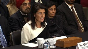 The US Ambassador the UN Nikki Haley lashed out against North Korean leader Kim Jung Un in unusually personal terms Wednesday. File- US Ambassador to the UN Nikki Haley issues print statement on North Korean missile test. Haley is seen here speaking at the UN headquarters in January.