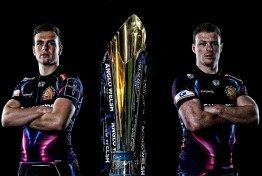 Joe Simmonds and Sam Simmonds pose pre Anglo-Welsh Cup Final at Sandy Park on March 14th 2017, Exeter, Devon. - Photo: Phil Mingo/PPAUK