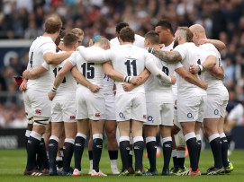 England players in a pre-match huddle during the RBS Six Nations match at Twickenham Stadium, London.. Picture date: Saturday March 11, 2017. See PA story RUGBYU England. Photo credit should read: Andrew Matthews/PA Wire. RESTRICTIONS: Use subject to restrictions. Editorial use only. No commercial use. No use in books or print sales without prior permission.