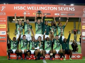 in the match between XXXX and XXXX during the 2017 Wellington Sevens at Westpac Stadium on January 29, 2017 in Wellington, New Zealand.