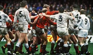 Mandatory Credit: Photo by Colorsport/REX (3107510a) Paul Moriarty (blond hair) launches at Wade Dooley(4) as Richard Collins and Gary Pearce (3) grapple Wales v England 5 Nations Championship Cardiff 7/03/1987 Great Britain Cardiff Sport