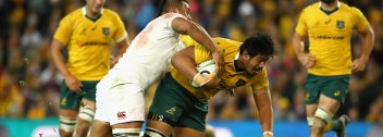 SYDNEY, AUSTRALIA - JUNE 25: Will Skelton of the Wallabies is tackled during the International Test match between the Australian Wallabies and England at Allianz Stadium on June 25, 2016 in Sydney, Australia. (Photo by Cameron Spencer/Getty Images)