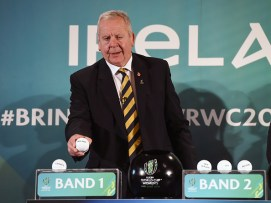 Belfast , Ireland - 9 November 2016; World Rugby Chairman Bill Beaumont during the 2017 Women's Rugby World Cup Pool Draw at City Hall in Belfast. (Photo By Oliver McVeigh/Sportsfile via Getty Images)