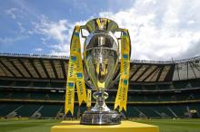 during the Aviva Premiership Final between Bath Rugby and Saracens at Twickenham Stadium on May 30, 2015 in London, England.
