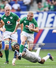 New Jersey , United States - 10 June 2017; Keith Earls of Ireland is tackled by Marcel Brache of USA during the international match between Ireland and USA at the Red Bull Arena in Harrison, New Jersey, USA. (Photo By Ramsey Cardy/Sportsfile via Getty Images)