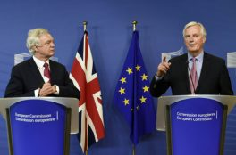"The European Union's chief negotiator Michel Barnier (R) speaks as British Secretary of State for Exiting the European Union (Brexit Minister) David Davis looks on during a statement before the opening of Brexit negotiations at the EU headquarters in Brussels on June 19, 2017. The European Union's chief negotiator Michel Barnier on June 19, 2017 said he hoped for a ""constructive"" start to Brexit talks with Britain as formal negotiations began in Brussels.""I hope that today we can identify priorities and a timetable that would allow me to report to the (EU summit) later this week that we had a constructive opening of the negotiations,"" the Frenchman said as he greeted Britain's Brexit minister David Davis. / AFP PHOTO / JOHN THYS (Photo credit should read JOHN THYS/AFP/Getty Images)"