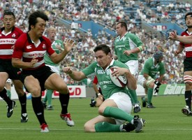 Ireland Rugby Tour of Japan 2nd Test Japan vs Ireland 19/6/2005 Japan's Takanori Kumagae can't stop David Wallace touching down for their first try Mandatory Credit ©INPHO/Morgan Treacy