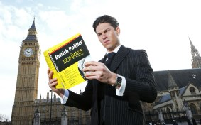 Mandatory Credit: Photo by Joe Pepler/REX (4588312i) Joey Essex outside the Big Ben and the Houses of Parliament Joey promoting 'Educating Joey Essex - Election Special' TV programme, London, Britain - 24 Mar 2015