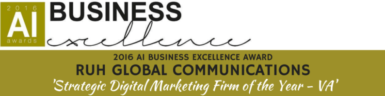 AI Business Excellence Banner: Ruh Global Communications 'Digital Marketing Firm of the Year - VA'
