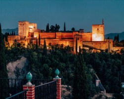 Sunset over the Alhambra in Granada, Spain