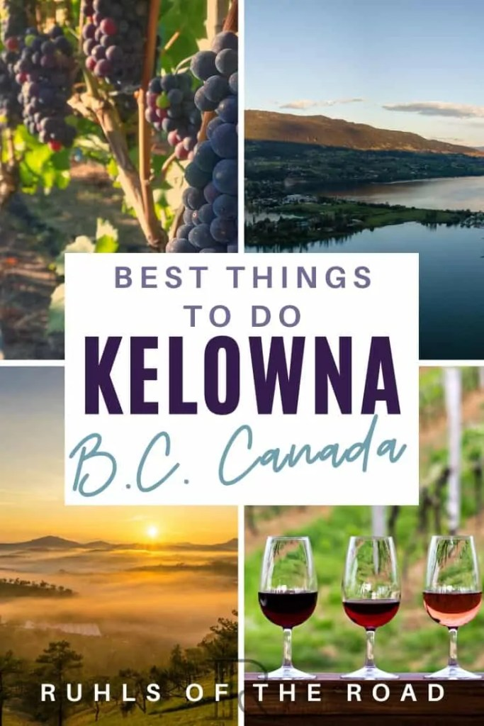 Best things to do Kelowna British Columbia Canada. Visit a drive in movie theater, go to a Okanagan valley winery or Kelowna orchard and float down the Penticton River. Kelowna is a true hidden gem in British Columbia Canada. Don't miss this spot while in Canada!