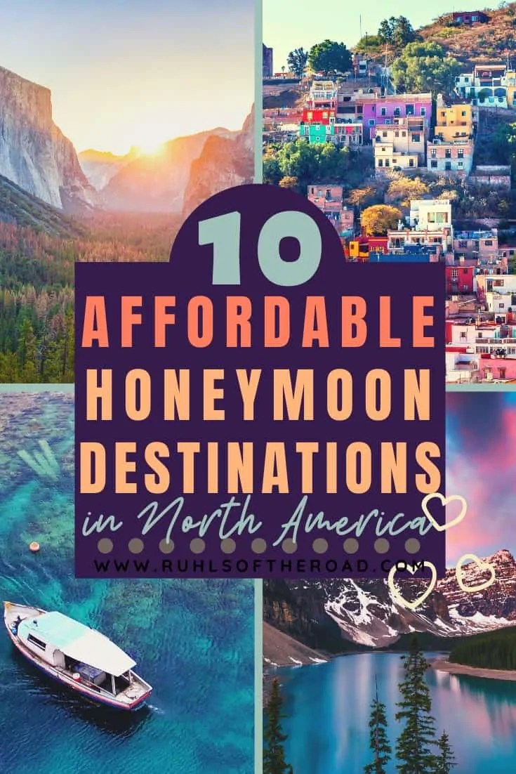 Affordable honeymoon destinations in North America. Take a honeymoon on a budget to dream honeymoon destinations in the USA, Canada, Mexico and Central America. Use this list for cheap honeymoon ideas, affordable vacation ideas, budget honeymoon ideas, inexpensive honeymoon ideas and couples vacation ideas. There are so many romantic honeymoon destinations in the USA and North America. Plan your dream honeymoon with this honeymoon inspiration for a honeymoon trip of a lifetime! #honeymoon