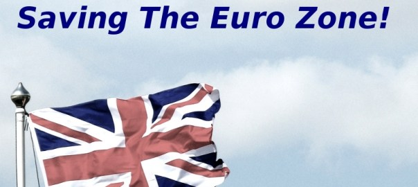 Union Jack with 'Thank You For Saving The Euro Zone'