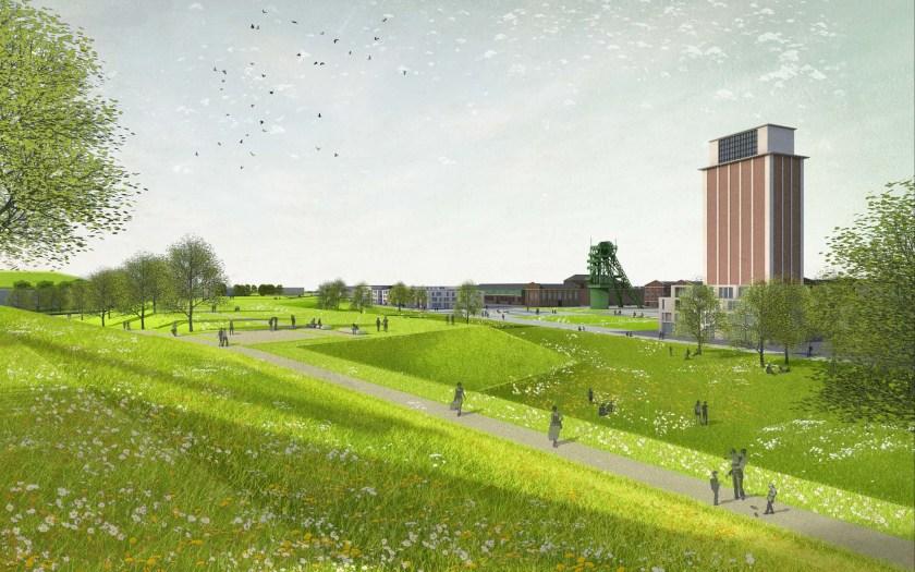 Perspektive - Gelände der LAGA Kamp-Lintfort 2020 mit Förderturm