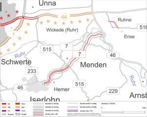 Möglicher Streckenverlauf der B7n (Screenshot: RuhrkanalNEWS)