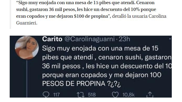 Pasted into Mesera 'explota' contra clientes que ledejaron 200 pesos de propina