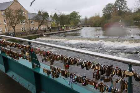 Locks on bridge at Bakewell