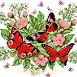Вышивка крестом бабочка на цветах