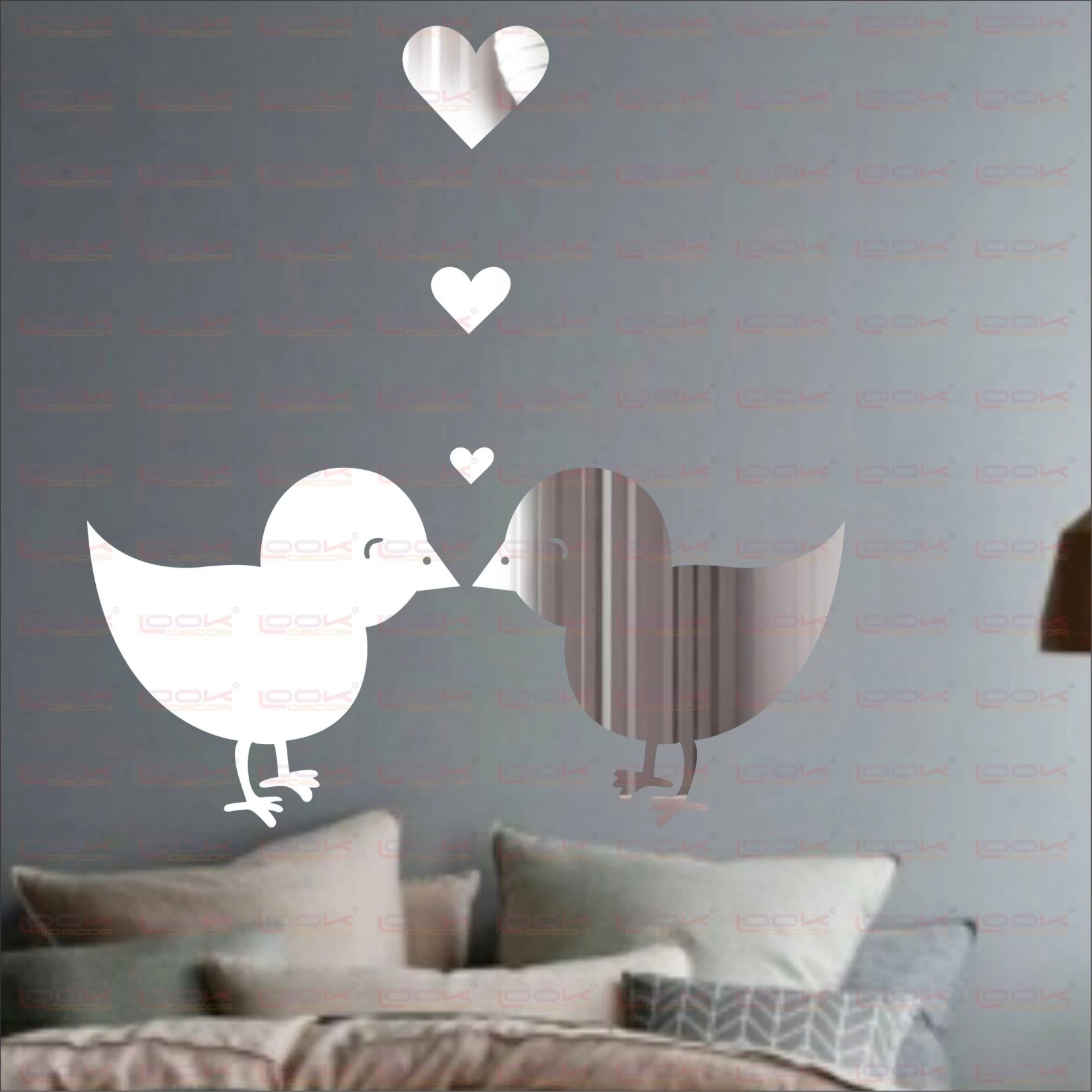 Look Decor Extra Large Loving Birds Silver Pack Of 5