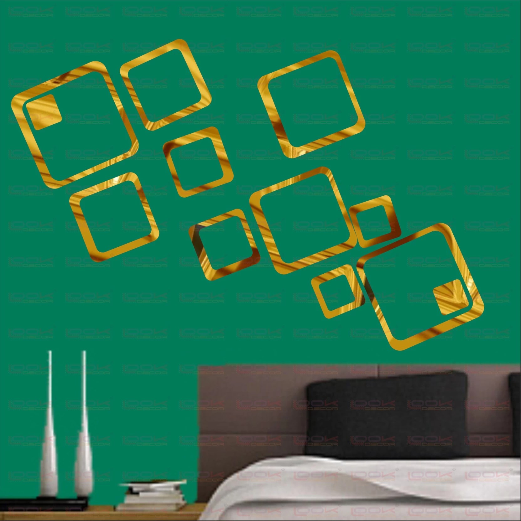 Look Decor Extra Large 12 Square Golden Pack Of 12 Acrylic