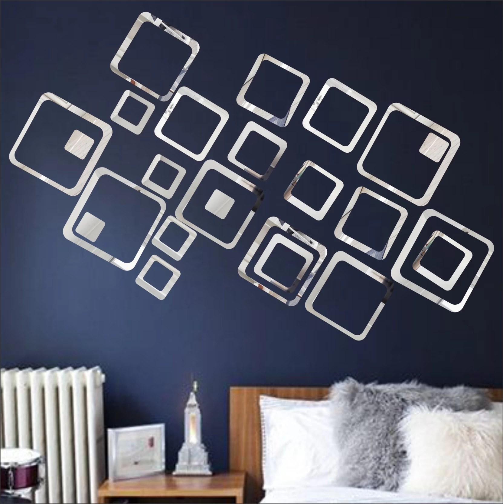 Look Decor Extra Large Look Decor 24 Square Silver Pack Of