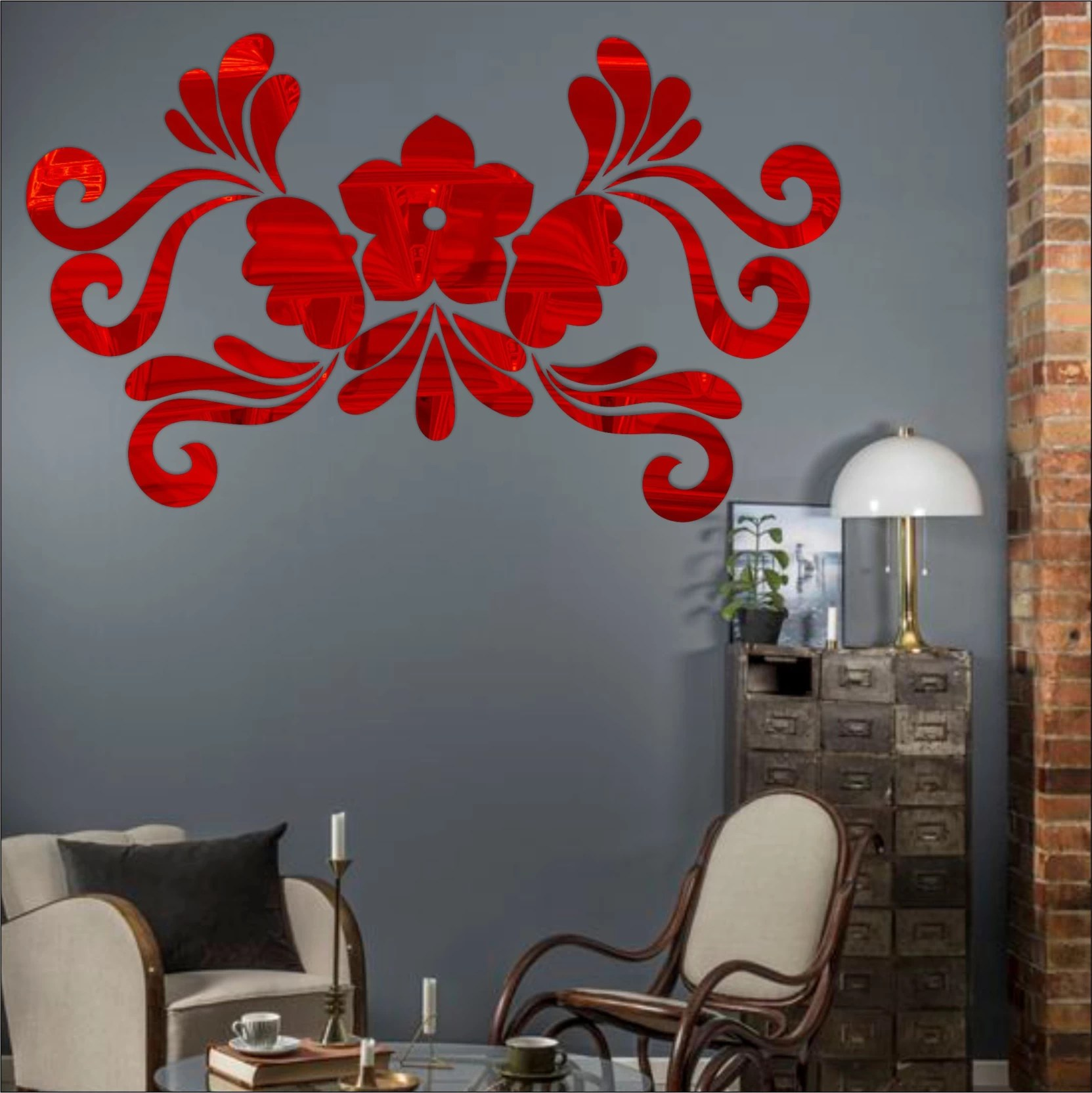 Look Decor Extra Large Look Decor Art Flower Red