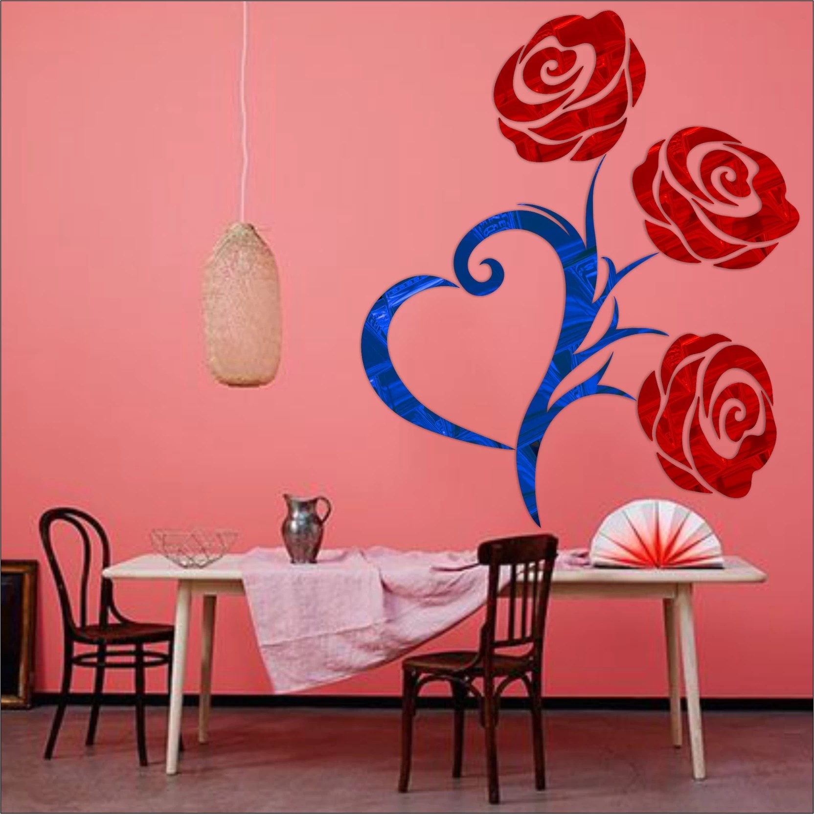 Look Decor Extra Large Heart Rose Code20acrylic Sticker 3d