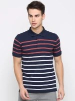 BULLMER Striped Men Polo Neck Dark Blue T-Shirt
