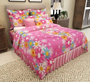 Home Candy Polycotton 3D Printed Double Bedsheet