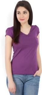 Jealous Casual Puff Sleeve Solid Women Purple Top