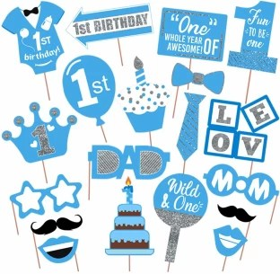 Partydecoration First Birthday Boy Photo Booth Props Party Supplies For Party Birthdays Photobooth Dress Up Accessories Pack Of 19 Photo Booth Board Price In India Buy Partydecoration First Birthday Boy