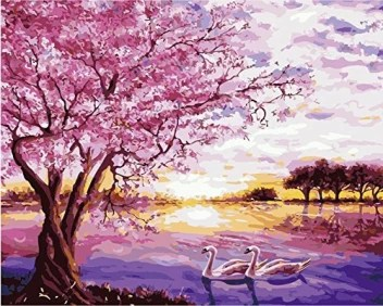 Morgofun Diy Oil Painting Paint By Numbers For Adults Paint By Number Kit Beautiful Swan Lake Diy Painting 16x20inch Swan Lake Diy Oil Painting Paint By Numbers For Adults Paint By