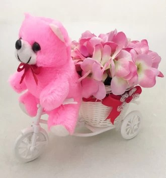 Just Flowers Cute Teddy With Artificial Pink Hydrangea Bouquet