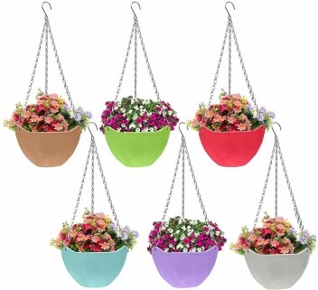 Airex Flower Pot Hanging Basket With Hook Chain For Home Gardener Office Balcony Grower Planter 6 Pack Plant Container Set Price In India Buy Airex Flower Pot Hanging Basket With