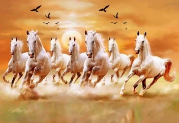 Vastu Horses 7 Lucky Running Horse Wallpaper Photo Paper Poster Full Hd Without Frame For Living Room Bedroom Office Kids Room Hall Home Decor 13x19 Photographic Paper Animals Posters In India Buy Art Film