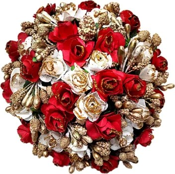 Proplady Wedding Collection Red White Roses Weaved Full Cover