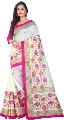 Right Shape Printed Bhagalpuri Silk, Cotton Saree