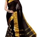 ASHVMEGH Woven Fashion Cotton Silk Saree(Black)