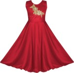 Fashion Dream Indi Girls Maxi/Full Length Party Dress(Red, Sleeveless)