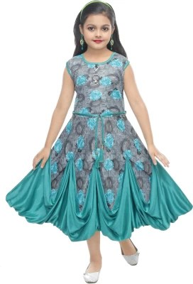 MRM CREATION Girls Midi/Knee Length Party Dress(Grey, Sleeveless)